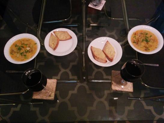 Potato & Leek Chowder with cheddar baguette