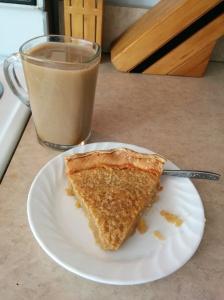 My wife's Bourbon Buttermilk pie with coffee in my dalek mug.