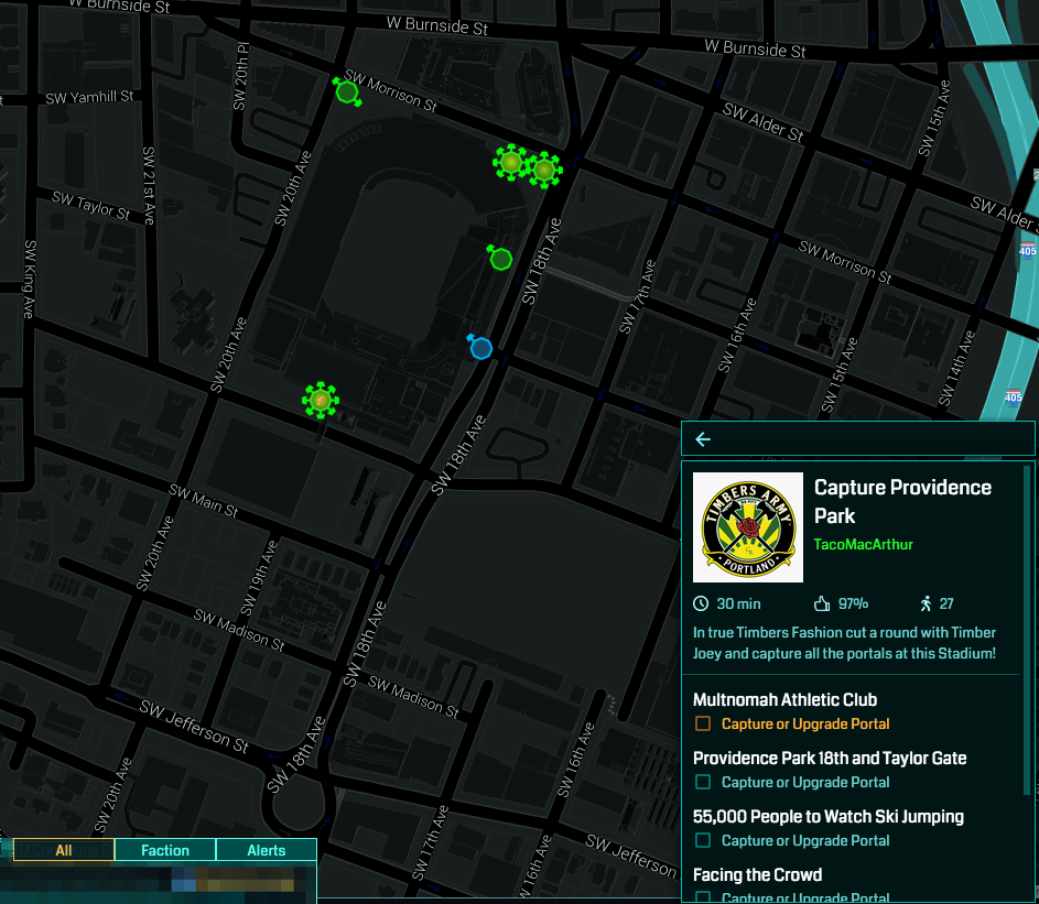Capture Providence Park ingress intel map