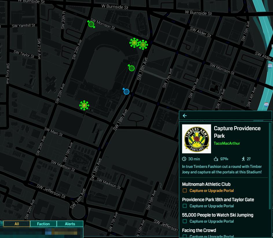 Capture Providence Park ingress intel map