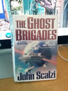 Hardcover edition of The Ghost Bridages by John Scalzi, on loan from the Louisville Free Public Library
