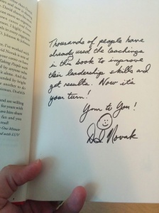David Novak signed this copy of Taking People With You
