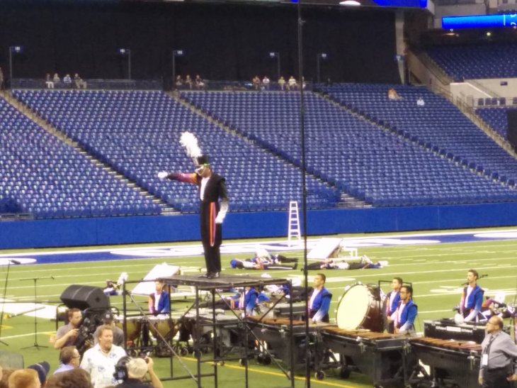Blue Devils drum major salutes