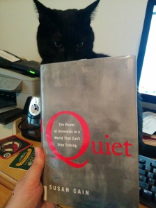Quiet in hardcover, with avid reader cat, Bagheera.