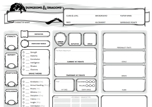The 5e character sheet. Just a tiny bit more streamlined than the Pathfinder one (below.)