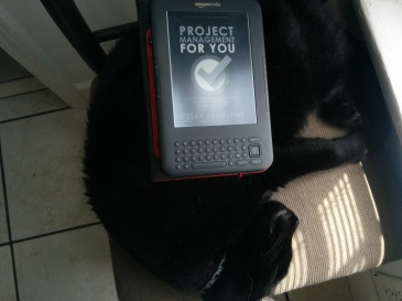 Project Management For You on Kindle with avid reader cat, Bagheera