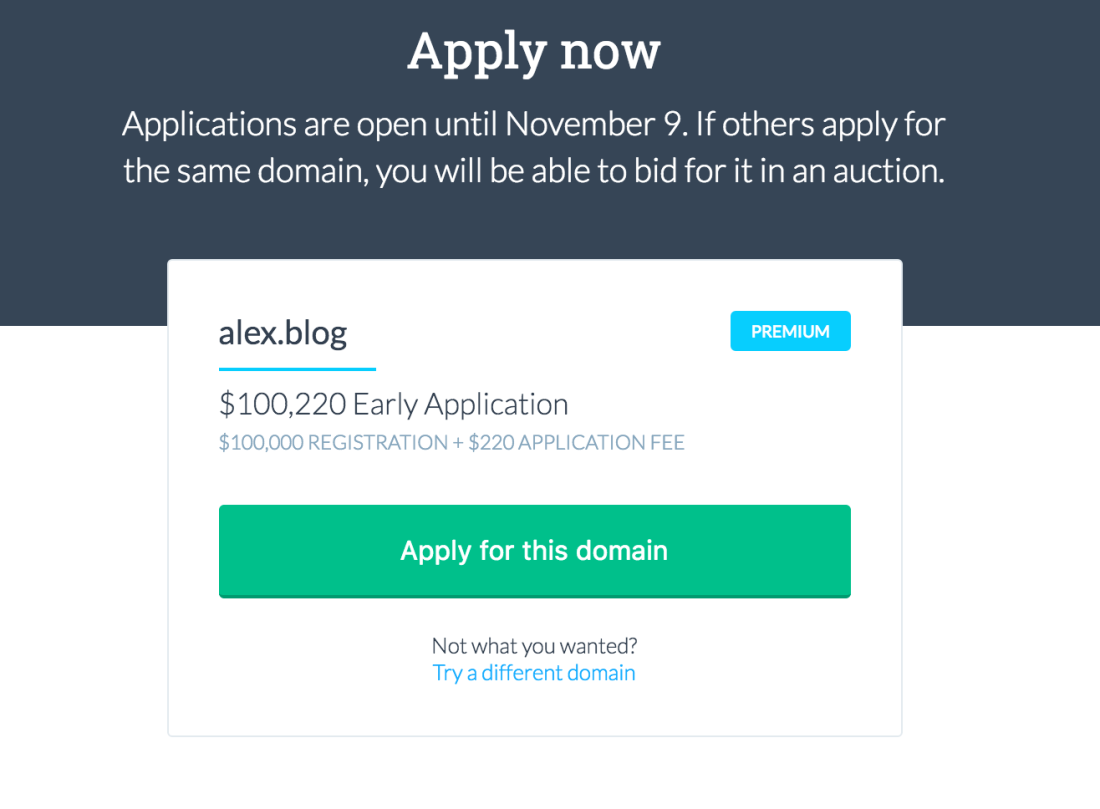 Screenshot of get.blog's search for the domain name alex.blog which costs over one hundred thousand dollars
