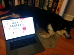Laptop displaying audiobook cover art for Lock In next to a sleeping dog.